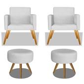 Conjunto 2 Poltrona Decorativa Cadeira Beatriz Pés Palito mais 2 Puf Pufe Pufinho Redondo Sofia Corano Branco para Consultório Sala de Estar Recepção Quarto - AM Decor
