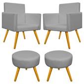 Conjunto 2 Poltrona Decorativa Cadeira Beatriz Pés Palito mais 2 Puf Pufe Pufinho Redondo Sofia Corano Cinza para Consultório Sala de Estar Recepção Quarto - AM Decor