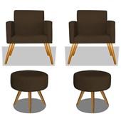 Conjunto 2 Poltrona Decorativa Cadeira Beatriz Pés Palito mais 2 Puf Pufe Pufinho Redondo Sofia Corano Marrom para Consultório Sala de Estar Recepção Quarto - AM Decor