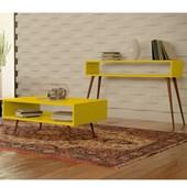 Conjunto Aparador Buffet Balcão e Mesa de Centro Melissa Pés Palito Para Sala Amarelo - Amarena