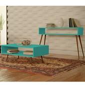 Conjunto Aparador Buffet Balcão e Mesa de Centro Melissa Pés Palito Para Sala Azul Tiffany - Amarena