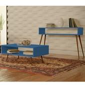 Conjunto Aparador Buffet Balcão e Mesa de Centro Melissa Pés Palito Para Sala Azul Turquesa - Amarena