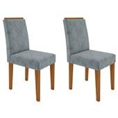Conjunto de 02 Cadeiras Amanda para Sala e Cozinha Ypê e Grafite WD 26 - New Ceval