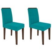 Conjunto de 02 Cadeiras Ana para Sala e Cozinha Castanho e Azul Turquesa VL 05 - New Ceval