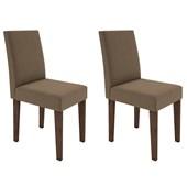 Conjunto de 02 Cadeiras Giovana para Sala e Cozinha Castanho e Chocolate VL 01 - New Ceval