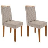 Conjunto de 02 Cadeiras Isabela para Sala e Cozinha Ypê e Bege Claro WD 22 - New Ceval
