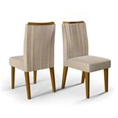 Conjunto de 02 Cadeiras Lara para Sala de Jantar e Cozinha Linho Árido - Amarena