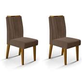 Conjunto de 02 Cadeiras Lara para Sala de Jantar e Cozinha Marrom Café - Amarena