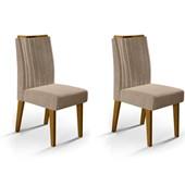 Conjunto de 02 Cadeiras Lara para Sala de Jantar e Cozinha Veludo Cáqui - Amarena