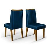Conjunto de 02 Cadeiras Lara para Sala de Jantar e Cozinha Veludo Nav - Amarena