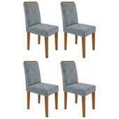 Conjunto de 04 Cadeiras Amanda para Sala e Cozinha Ypê e Grafite WD 26 - New Ceval