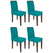 Conjunto de 04 Cadeiras Ana para Sala e Cozinha Castanho e Azul Turquesa VL 05 - New Ceval