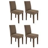 Conjunto de 04 Cadeiras Giovana para Sala e Cozinha Castanho /  Chocolate VL 01 - New Ceval