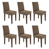 Conjunto de 06 Cadeiras Giovana para Sala e Cozinha Castanho e Chocolate VL 01 - New Ceval
