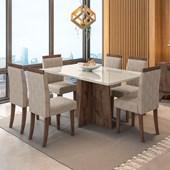 Conjunto de Mesa Ana Álamo para Sala de Jantar com Tampo de Vidro Off e 06 Cadeiras Paloma Castor WD 25 - New Ceval