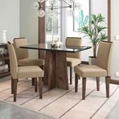 Conjunto de Mesa Ana Álamo para Sala de Jantar com Tampo de Vidro Preto e 04 Cadeiras Ana Areia VL 30 - New Ceval