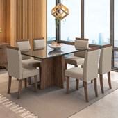 Conjunto de Mesa Ana Castanho para Sala de Jantar com Tampo de Vidro Preto e 06 Cadeiras Paloma Bege TL 13 - New Ceval