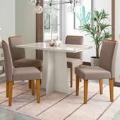 Conjunto de Mesa Ana Off para Sala de Jantar com Tampo de Vidro Off e 04 Cadeiras Ana Capuccino VL 02 - New Ceval