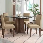 Conjunto de Mesa Ana para Sala de Jantar com Tampo de Vidro 04 Cadeiras Ana Álamo / Preto / Areia VL 30 - New Ceval