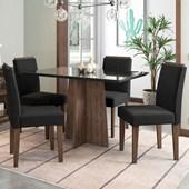 Conjunto de Mesa Ana para Sala de Jantar com Tampo de Vidro 04 Cadeiras Ana Castanho / Nero / Preto VL 07 - New Ceval