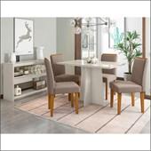 Conjunto de Mesa Ana para Sala de Jantar com Tampo de Vidro 04 Cadeiras Ana e Balcão Aparador Vanessa Off / Off / Capuccino VL 02 - New Ceval