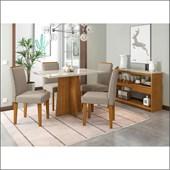 Conjunto de Mesa Ana para Sala de Jantar com Tampo de Vidro 04 Cadeiras Ana e Balcão Aparador Vanessa Ypê / Off / Bege TL 13 - New Ceval