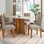 Conjunto de Mesa Ana para Sala de Jantar com Tampo de Vidro 04 Cadeiras Ana Ypê / Off / Bege TL 13 - New Ceval