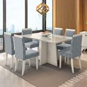 Conjunto de Mesa Ana para Sala de Jantar com Tampo de Vidro 06 Cadeiras Paloma Carrara / Off / Grafite WD 26 - New Ceval