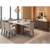 Conjunto de Mesa Ana para Sala de Jantar com Tampo de Vidro 06 Cadeiras Paloma e Balcão Aparador Livia Álamo / Off / Castor WD 25 - New Ceval