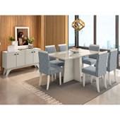 Conjunto de Mesa Ana para Sala de Jantar com Tampo de Vidro 06 Cadeiras Paloma e Balcão Aparador Livia Carrara / Off / Grafite WD 26 - New Ceval
