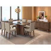 Conjunto de Mesa Ana para Sala de Jantar com Tampo de Vidro 06 Cadeiras Paloma e Balcão Aparador Livia Castanho / Preto / Bege TL 13 - New Ceval