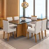 Conjunto de Mesa Ana para Sala de Jantar com Tampo de Vidro 06 Cadeiras Paloma Ypê / Nero / Bege Claro WD 22 - New Ceval