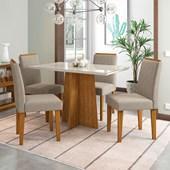 Conjunto de Mesa Ana Ypê para Sala de Jantar com Tampo de Vidro Off e 04 Cadeiras Ana Bege TL 13 - New Ceval