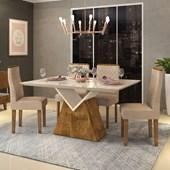 Conjunto de Mesa Argo Demolição com Tampo de Vidro Off White Chanfrado e 04 Cadeiras New Maia Linho Saara - DJ Móveis
