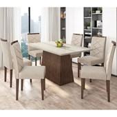 Conjunto de Mesa Barbara para Sala de Jantar com Tampo de Vidro 06 Cadeiras Caroline Castanho / Off / Bege Claro WD 22 - New Ceval