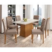 Conjunto de Mesa Barbara para Sala de Jantar com Tampo de Vidro 06 Cadeiras Caroline Ypê / Carrara / Cappucino VL 02 - New Ceval