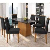 Conjunto de Mesa Barbara para Sala de Jantar com Tampo de Vidro 06 Cadeiras Caroline Ypê / Nero / Preto VL 07 - New Ceval