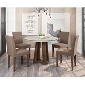 Conjunto de Mesa Isabela para Sala de Jantar com Tampo de Vidro 04 Cadeiras Giovana Álamo / Off / Capuccino VL 02 - New Ceval