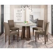 Conjunto de Mesa Isabela para Sala de Jantar com Tampo de Vidro 04 Cadeiras Giovana Castanho / Carrara / Chocolate VL 01 - New Ceval