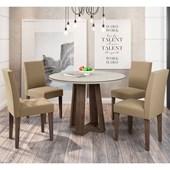 Conjunto de Mesa Isabela para Sala de Jantar com Tampo de Vidro 04 Cadeiras Giovana Castanho / Off / Areia VL 30 - New Ceval