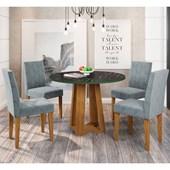 Conjunto de Mesa Isabela para Sala de Jantar com Tampo de Vidro 04 Cadeiras Giovana Ypê / Nero / Grafite WD 26 - New Ceval