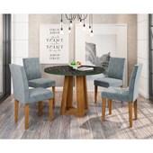 Conjunto de Mesa Isabela Ypê para Sala de Jantar com Tampo de Vidro Nero e 04 Cadeiras Giovana Grafite WD 26 - New Ceval