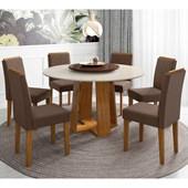 Conjunto de Mesa Isabela Ypê para Sala de Jantar com Tampo Giratório Café e Vidro Off com 06 Cadeiras Amanda VL 06 - New Ceval
