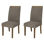 Conjunto de Mesa Itália para Sala de Jantar com Tampo de Vidro 04 Cadeiras Áurea Branco Laca /  Demolição / Linho Bronze - DJ Móveis