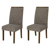 Conjunto de Mesa Itália para Sala de Jantar com Tampo de Vidro 04 Cadeiras Áurea Rústico Malbec / Off White / Linho Bronze - DJ Móveis