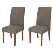 Conjunto de Mesa Itália para Sala de Jantar com Tampo de Vidro 04 Cadeiras Áurea Rústico Terrara /  Off White / Linho Bronze - DJ Móveis