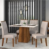 Conjunto de Mesa Itália para Sala de Jantar com Tampo de Vidro 04 Cadeiras Áurea Rústico Terrara /  Off White / Linho Claro - DJ Móveis