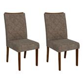 Conjunto de Mesa Itália para Sala de Jantar com Tampo de Vidro 04 Cadeiras Golden Rústico Malbec com Preto e Linho Bronze - DJ Móveis