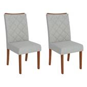 Conjunto de Mesa Itália para Sala de Jantar com Tampo de Vidro 04 Cadeiras Golden Rústico Terrara com Off White e Linho Claro - DJ Móveis
