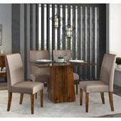 Conjunto de Mesa Itália para Sala de Jantar com Tampo de Vidro 04 Cadeiras Serena Rústico Malbec com Preto e Linho Bronze - DJ Móveis